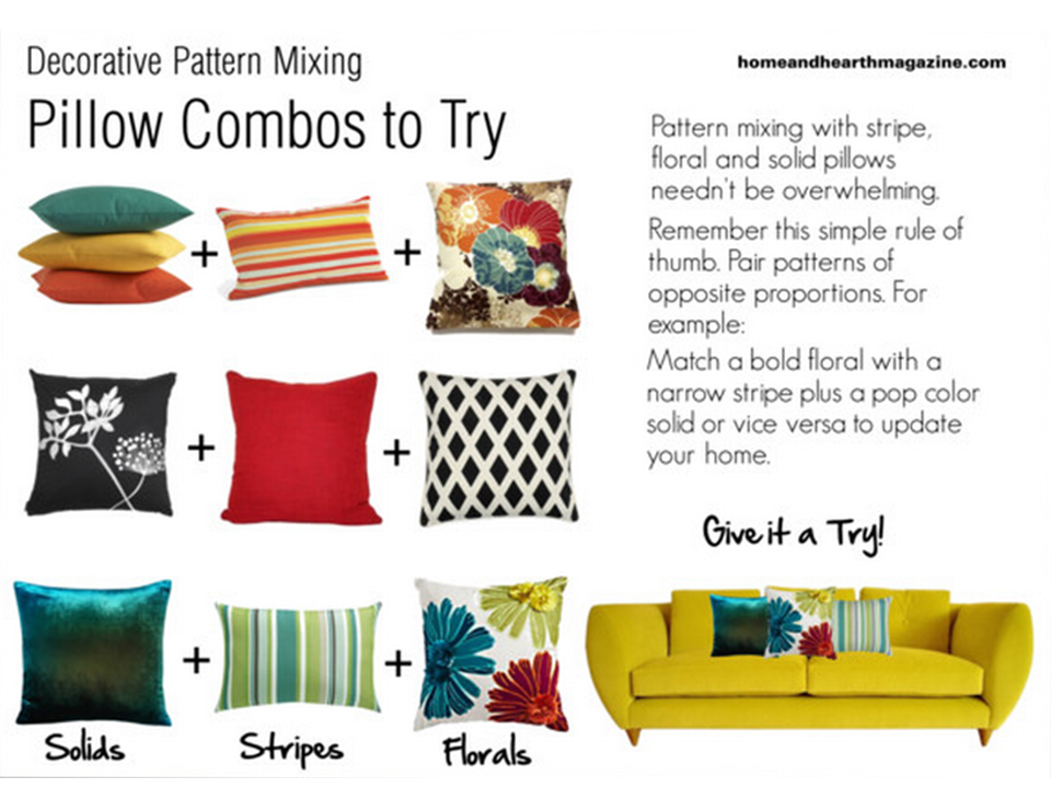 Pattern Mixing Decorative Pillows Home And Hearth Magazine